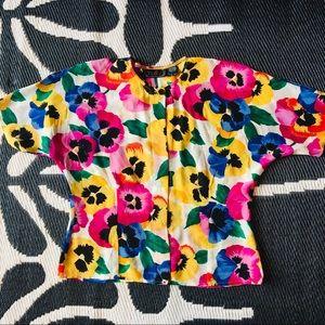 Vintage • Silk Floral Top